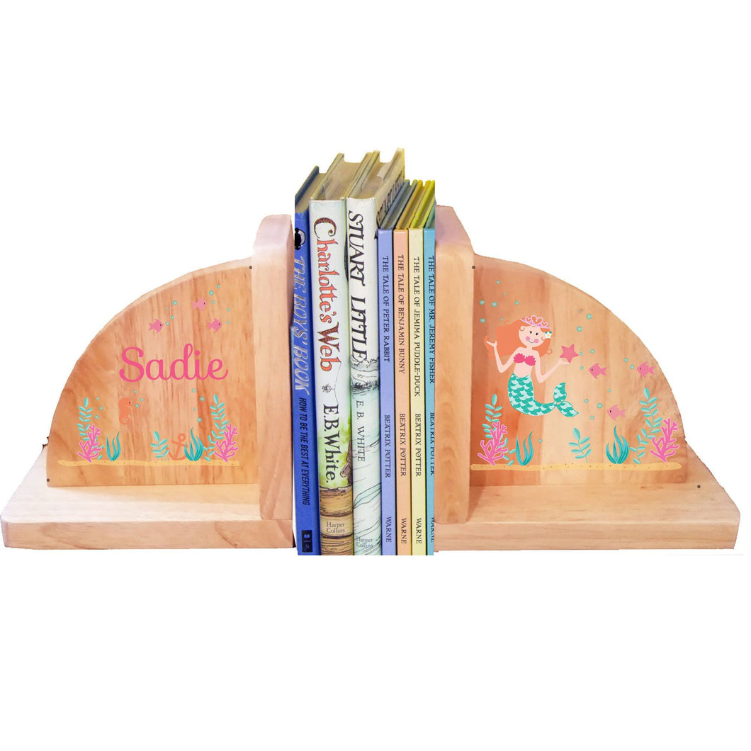Personalized Mermaid Red Natural Childrens Wooden Bookends