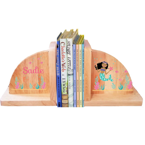 Personalized Mermaid Dark Natural Childrens Wooden Bookends