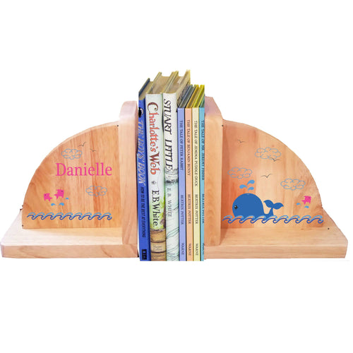 Personalized Whale Pink Natural Childrens Wooden Bookends