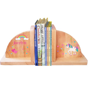 Personalized Unicorn Natural Childrens Wooden Bookends