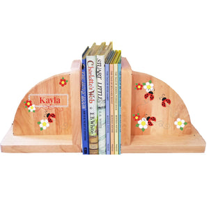 Personalized Red Ladybug Natural Childrens Wooden Bookends