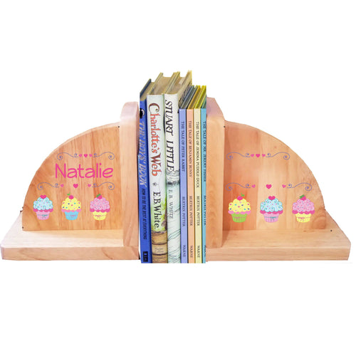 Personalized Cupcake Natural Childrens Wooden Bookends