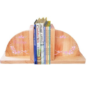 Personalized Natural Wooden Bookends with Pink Gray Floral Garland design