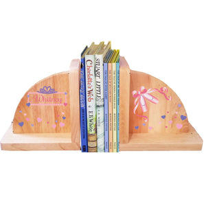 Personalized Ballet Princess Natural Childrens Wooden Bookends