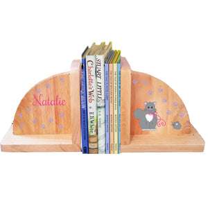 Personalized Kitty Cat Natural Childrens Wooden Bookends