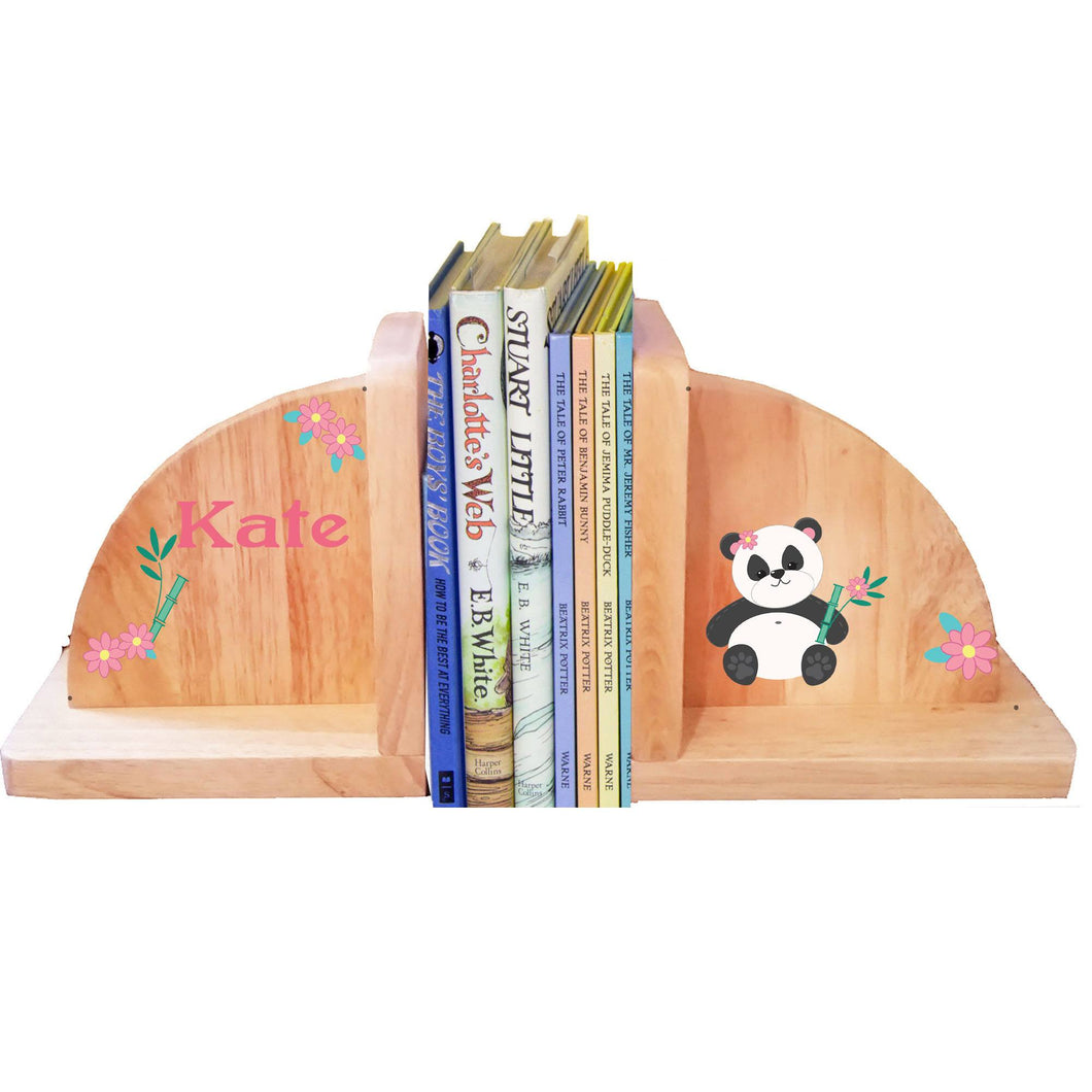 Personalized Panda Bear Natural Childrens Wooden Bookends