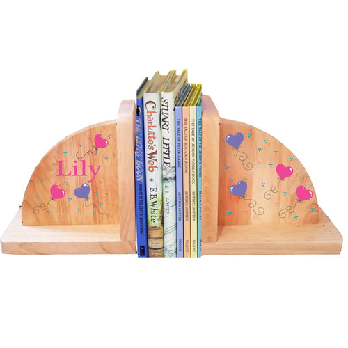 Personalized Heart Balloons Natural Childrens Wooden Bookends