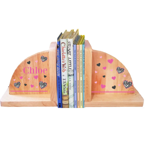 Personalized Groovy Zebra Hearts Natural Childrens Wooden Bookends
