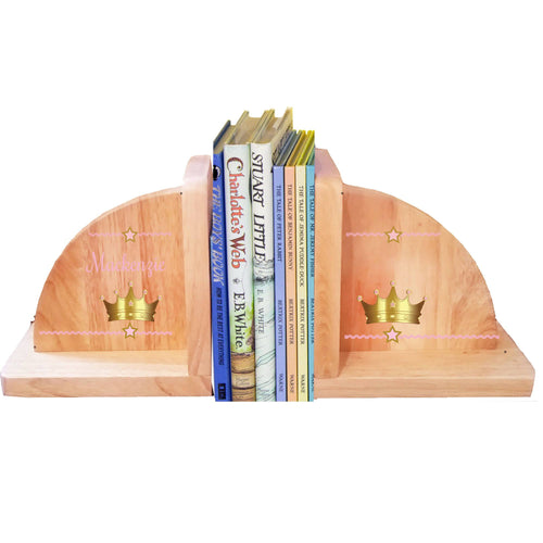 Personalized Pink Crown Natural Childrens Wooden Bookends