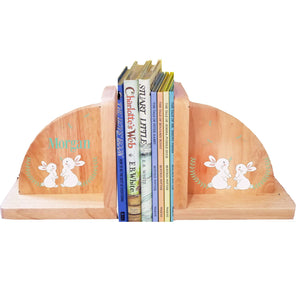 Personalized Classic Bunny Natural Wooden Bookends