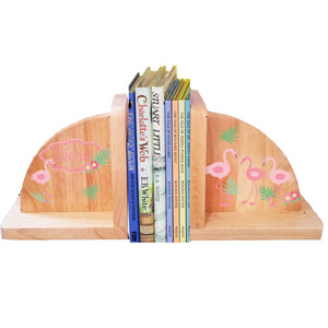 Personalized Natural Wooden Bookends with Palm Flamingo design