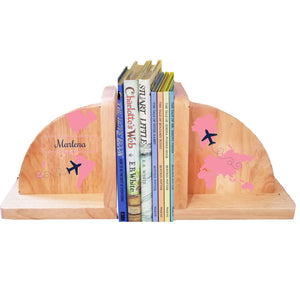 Personalized World Map Pink Natural Wooden Bookends