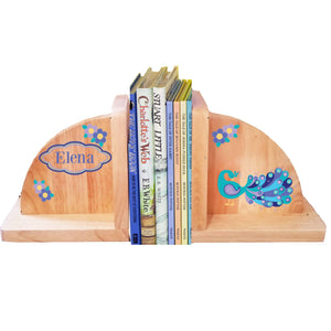 Personalized Peacock Natural Wooden Bookends