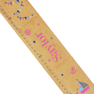 Personalized Natural Growth Chart With Sailboat Girls Design