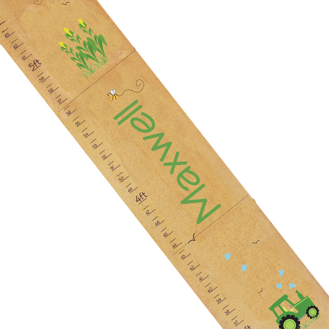 Personalized Natural Growth Chart With Green Tractor Design
