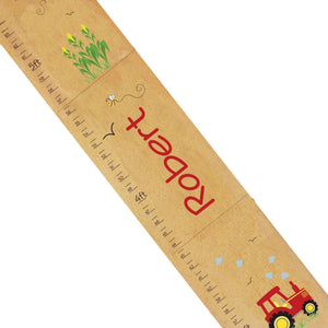 Personalized Natural Growth Chart With Tractor Red Design