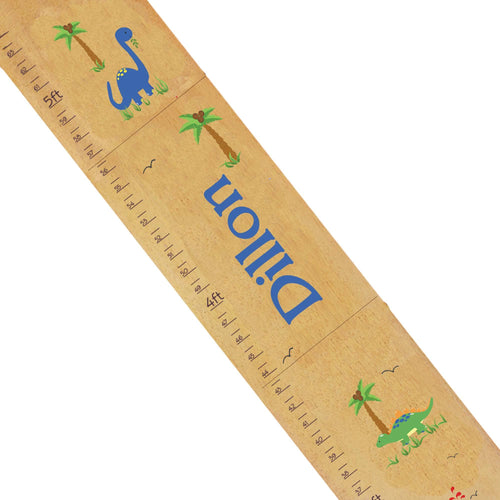 Personalized Natural Growth Chart With Dinosaurs Design