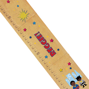 Personalized Natural Growth Chart With Superhero African American Design