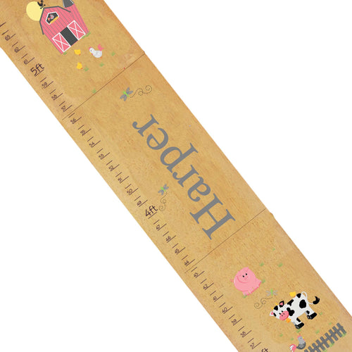 Personalized Natural Growth Chart With Barnyard Pastel Design