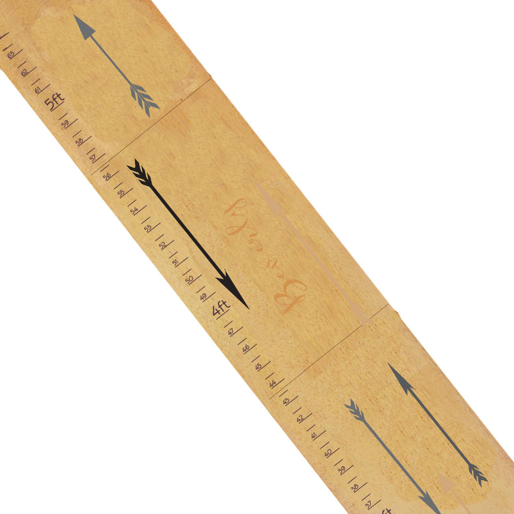 Personalized Natural Growth Chart With Gold Arrows Design
