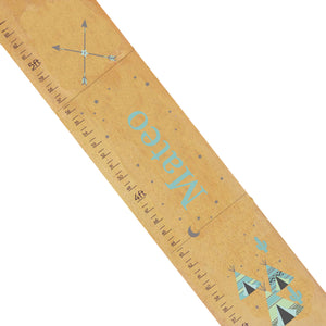 Personalized Natural Growth Chart With Teepee Aqua Mint 2 Design