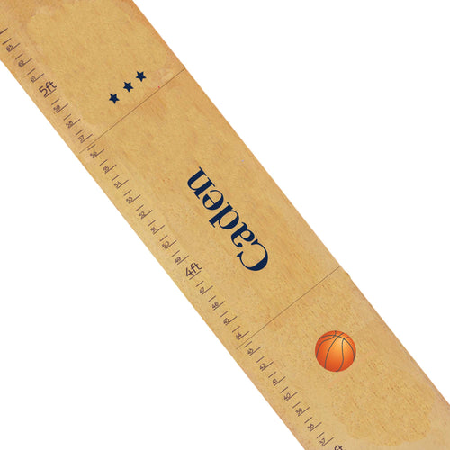 Personalized Natural Growth Chart With Basketball Design