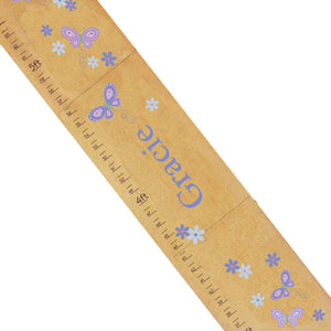 Personalized Natural Growth Chart With Butterflies Lavender Design
