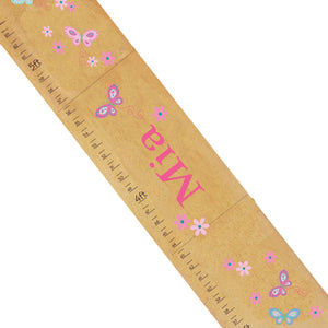 Personalized Natural Growth Chart With Butterflies Pink Aqua Design