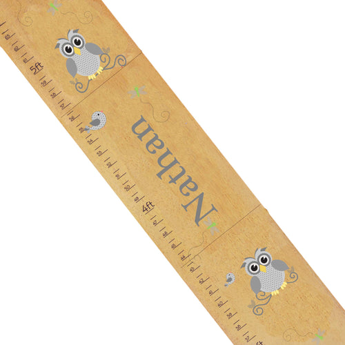 Personalized Natural Growth Chart With Gray Owl Design