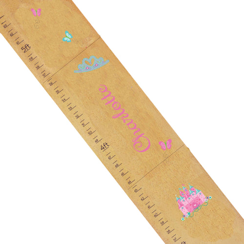 Personalized Natural Growth Chart With Princess Castle Pink Teal Design