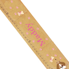 Personalized Natural Growth Chart With Puppy Pink Design