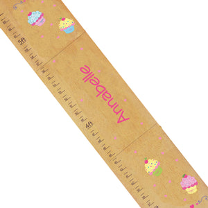Personalized Natural Wooden Growth Chart with Cupcake design