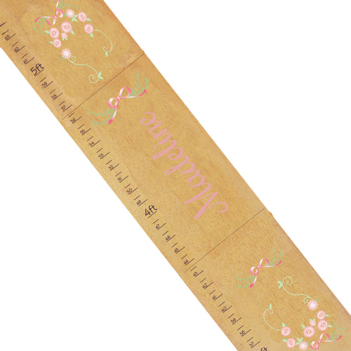 Personalized Natural Growth Chart With Garland Pink Mint Blush Design
