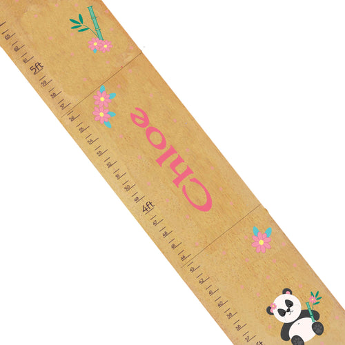 Personalized Natural Wooden Growth Chart with Panda Bear design