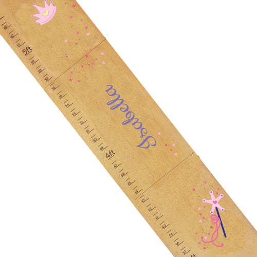 Personalized Natural Wooden Growth Chart with Fairy Princess design