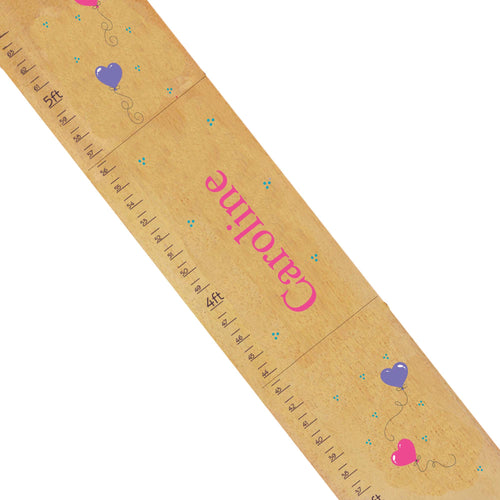 Personalized Natural Growth Chart With Heart Balloons Design
