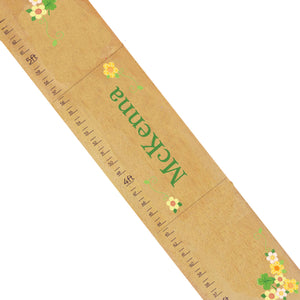 Personalized Natural Wooden Growth Chart with Shamrock design