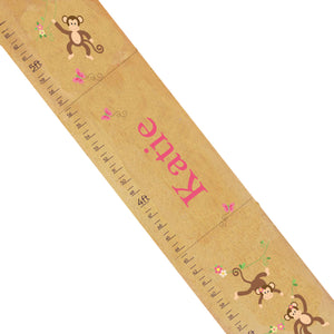 Personalized Natural Growth Chart With Monkey Girl Design