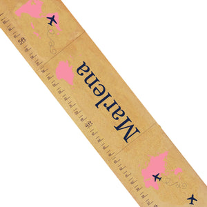 Personalized Natural Growth Chart With World Map Pink Design