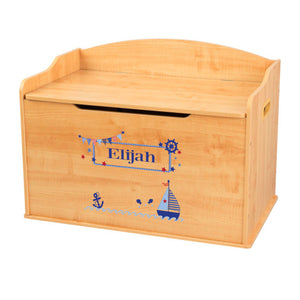 Personalized Natural Wooden Toy Box with Boys Sailboat design