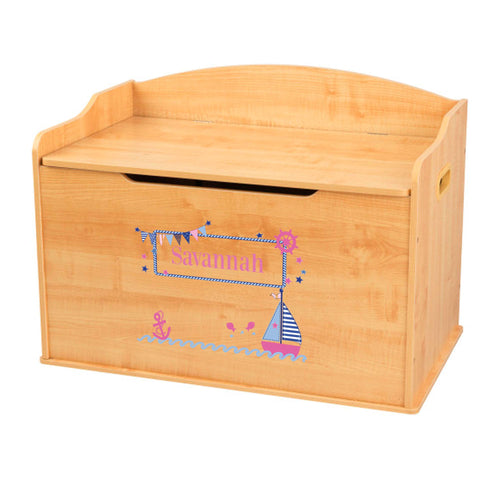 Personalized Natural Wooden Toy Box with Pink Sailboat design