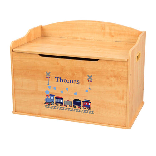 Personalized Natural Wooden Toy Box with Train design