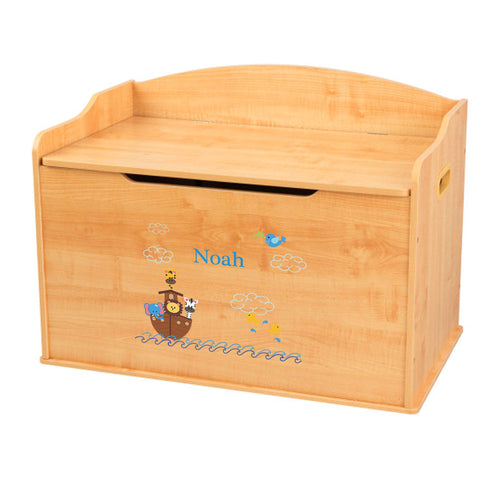 Personalized Natural Wooden Toy Box with Noahs Ark design