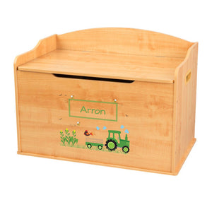 Personalized Natural Wooden Toy Box with Green Tractor design