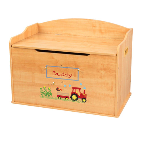 Personalized Natural Wooden Toy Box with Red Tractor design