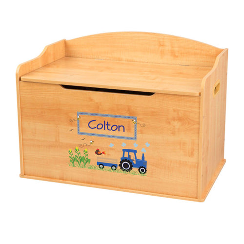 Personalized Natural Wooden Toy Box with Blue Tractor design