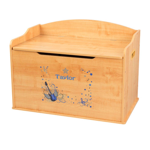 Personalized Natural Wooden Toy Box with Blue Rock Star design