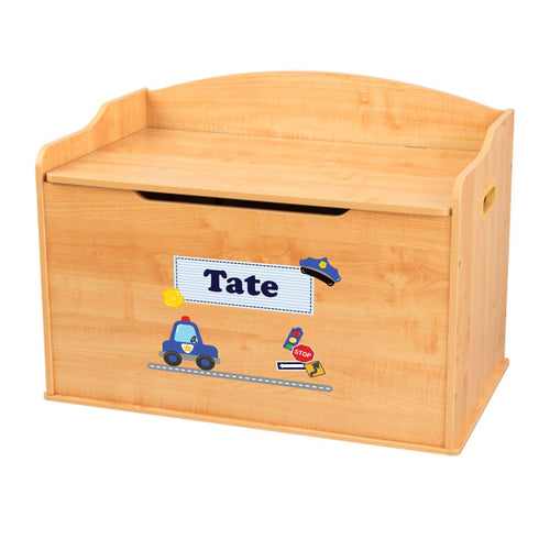 Personalized Natural Wooden Toy Box with Police design