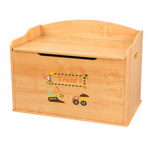 Personalized Natural Wooden Toy Box with Construction design