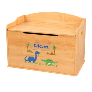 Personalized Natural Wooden Toy Box with Dinosaurs design